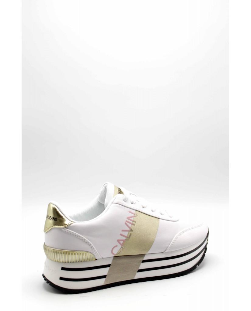 Calvin klein Sneakers F.gomma Coretta nylon Donna Bianco Fashion