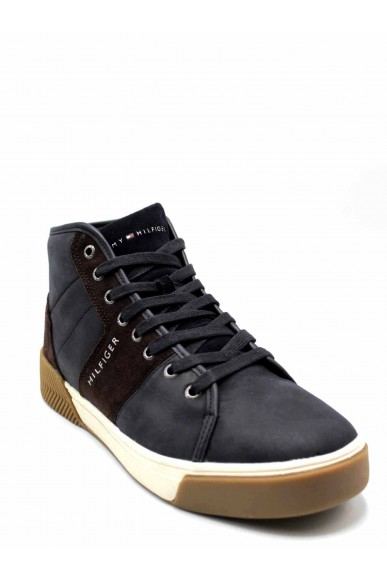 Tommy hilfiger Sneakers F.gomma Leather mix high top cupsole Uomo Blu Casual