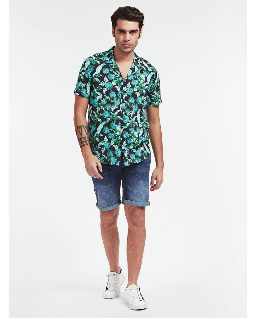 Guess Camicie   Ss resort shirt Uomo Verde-bianco Fashion