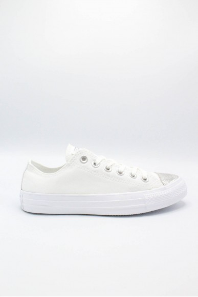 Converse Sneakers F.gomma 35/41 chuck taylors ox Donna Bianco-argento Sportivo