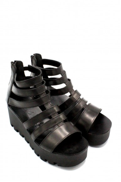 Nicole Sandali F.gomma 36-40 made in itlay Donna Nero Fashion
