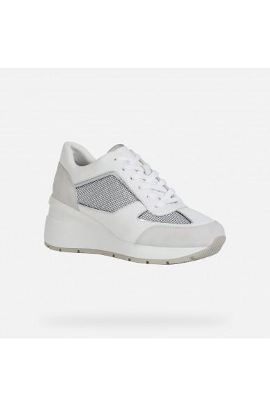 Geox Sneakers   D zosma a - shiny tex+nappa Donna Lt grey/white