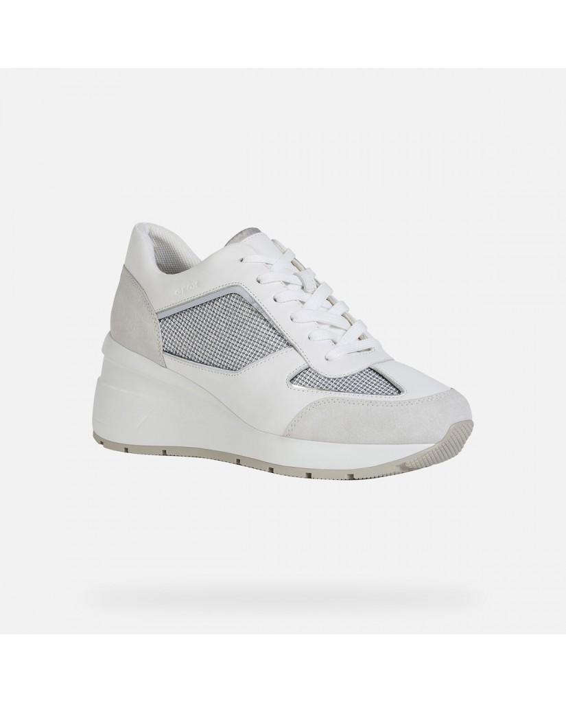Geox Sneakers   D zosma a - shiny tex+nappa Donna Lt grey/white