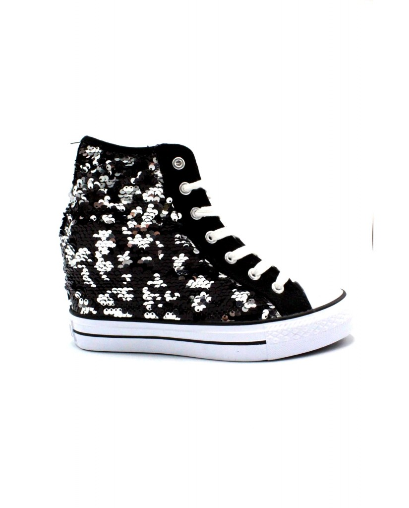 Cafe' noir Sneakers F.gomma 35/41 Donna Nero-argento Fashion