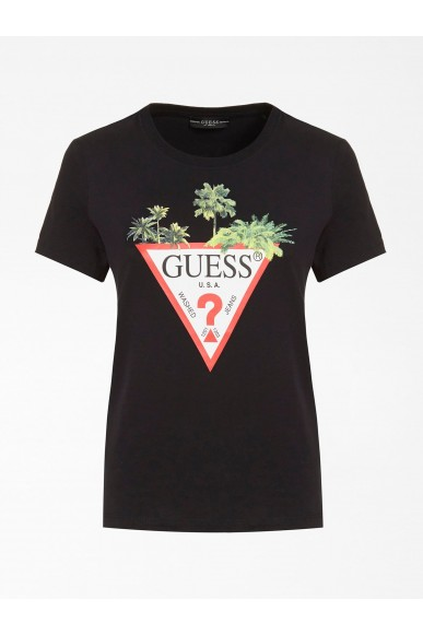 Guess T-shirt   Ss cn palms triangle tee Donna Nero Fashion