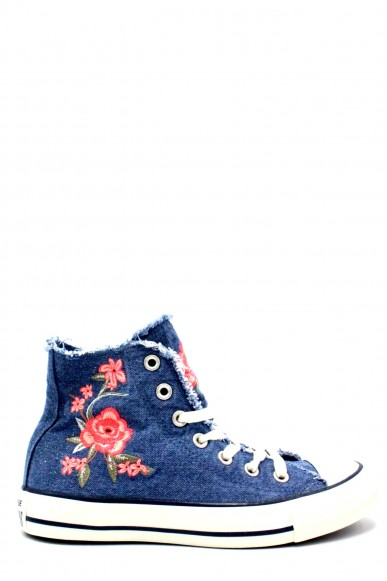Converse Sneakers F.gomma 36/41 chuck taylor high jeans Donna Blu Sportivo