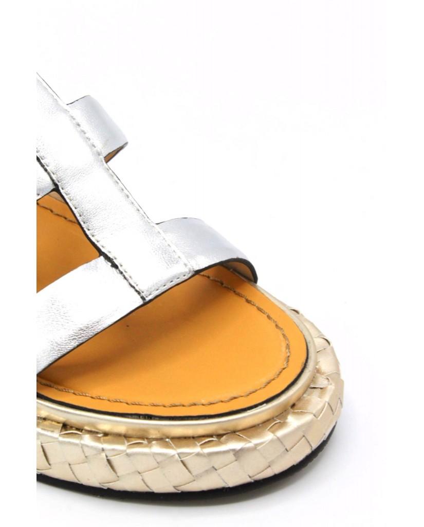Elvio zanon Sandali F.gomma 36/41 h1304n made in italy Donna Argento Fashion