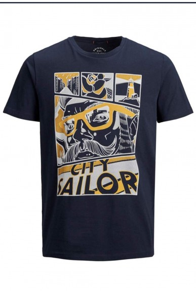 Jackejones T-shirt   Jorart comics tee ss crew neck Uomo Blu