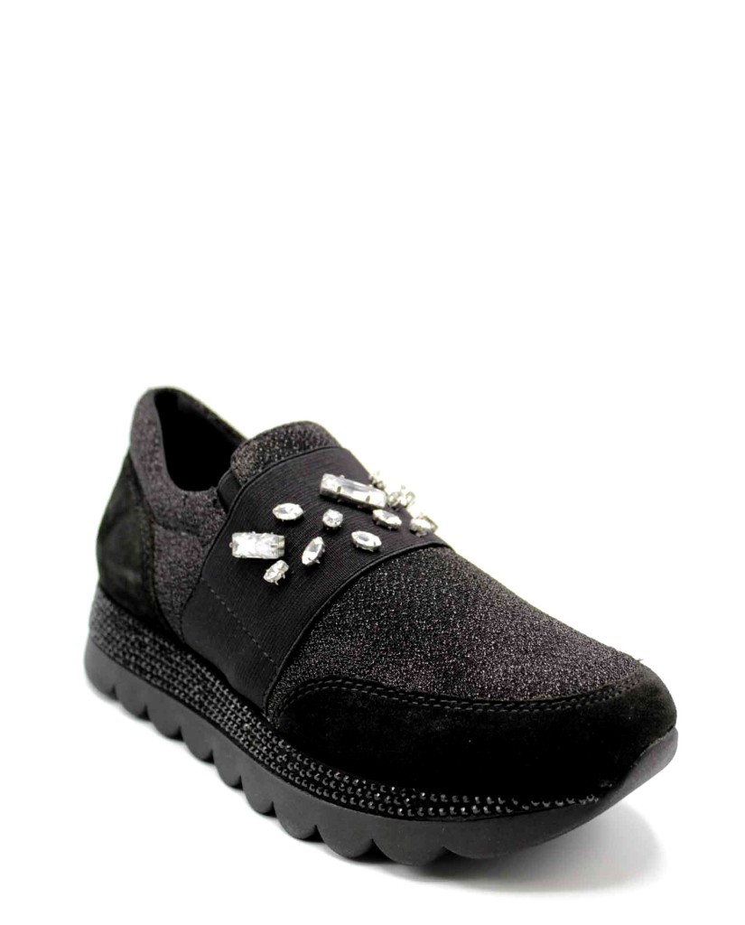 Cafe' noir Slip-on F.gomma Sneakers pantofola in tessuto e cro Donna Nero Fashion