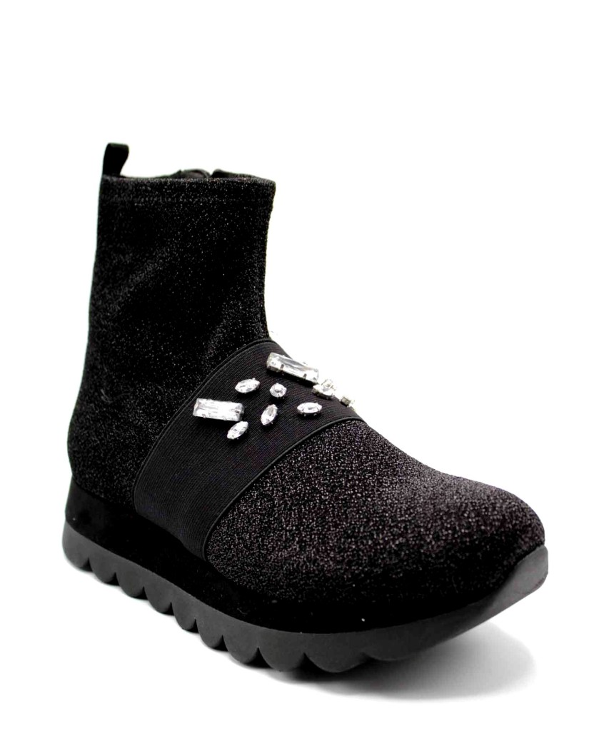 Cafe' noir Sneakers F.gomma Sneakers tronchetto calzino in tess Donna Nero Fashion