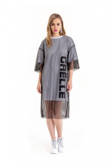 Gaelle paris Abiti   Abito jersey+rete+stampa Donna Bianco Fashion