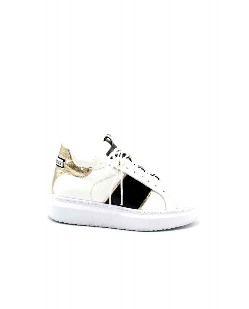 Cafe' noir Sneakers F.gomma Sneakers in pelle con facia logata Donna Bianco Fashion