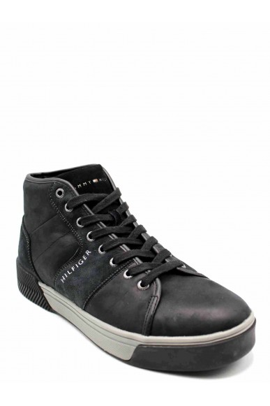 Tommy hilfiger Sneakers F.gomma Leather mix high top cupsole Uomo Nero Casual