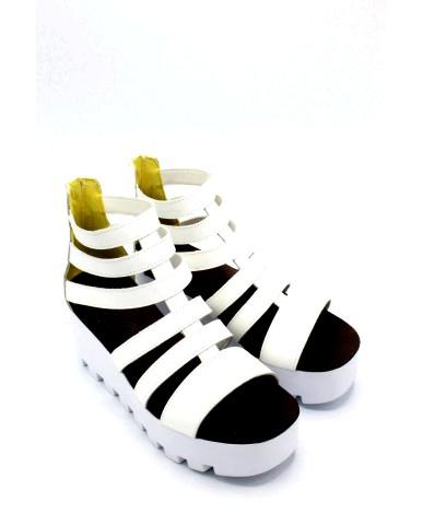 Nicole Sandali F.gomma 36-40 made in itlay Donna Bianco Fashion