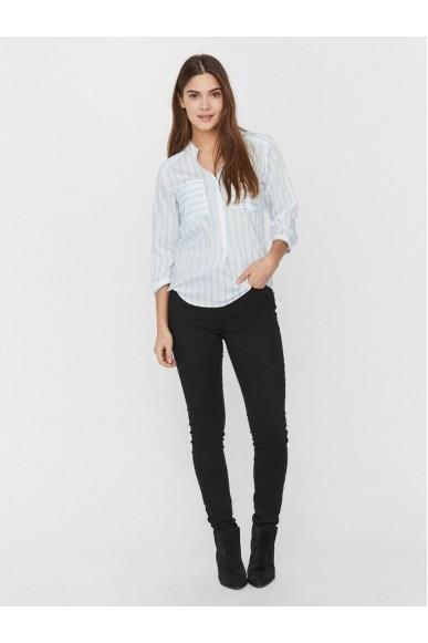 Vero moda Camicie   Vmerika stripe 3/4 shirt top e10 no Donna Bianco-blu Fashion