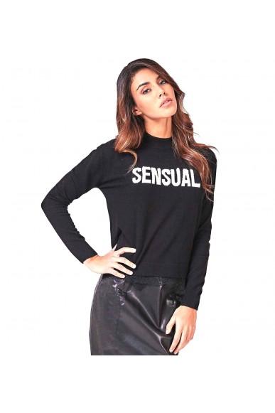 Guess Maglie   Ls rn addy sweater Donna Nero Fashion