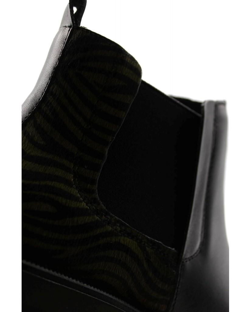 Cafe' noir Tronchetti F.gomma Betles filoforma in pelle e cavalli Donna Nero Fashion