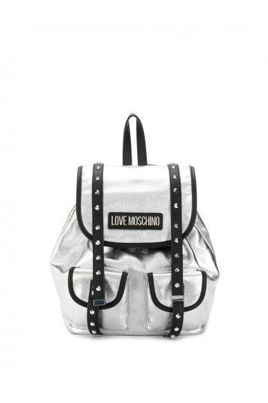 Moschino Backpacks   Borsa canvas+pu nero Donna Argento Fashion