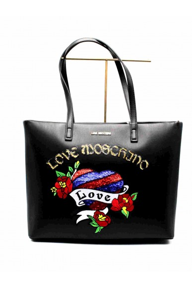 Moschino Borse   Shopper nappa pu nero patch Donna Nero Fashion