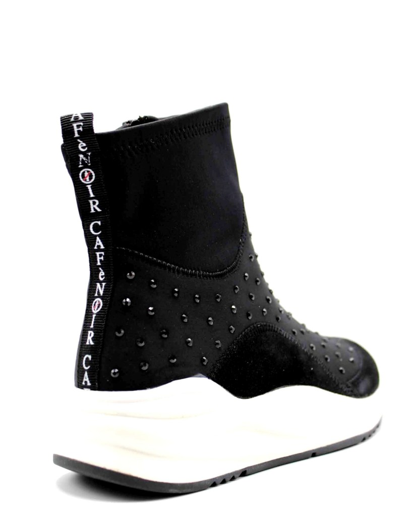 Cafe' noir Sneakers F.gomma Tronchetto lycra strass suola bianc Donna Nero Fashion