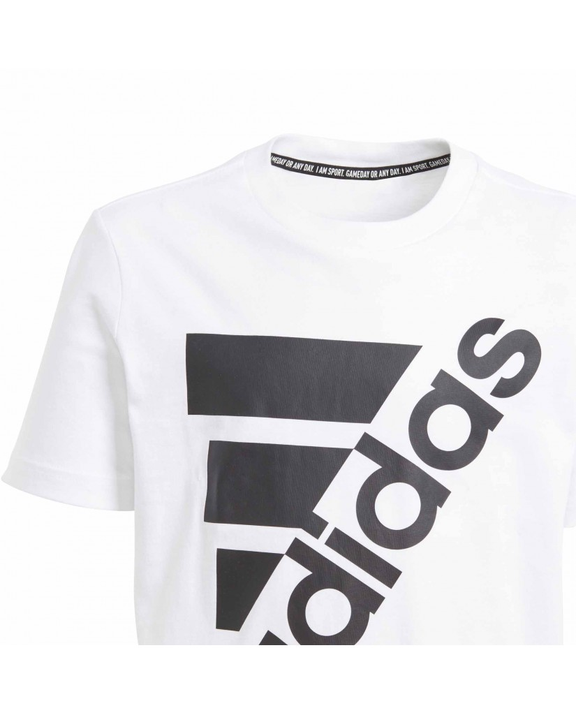 Adidas T-shirt   Yb mh bos t2        white/black Bambino Bianco Sportivo