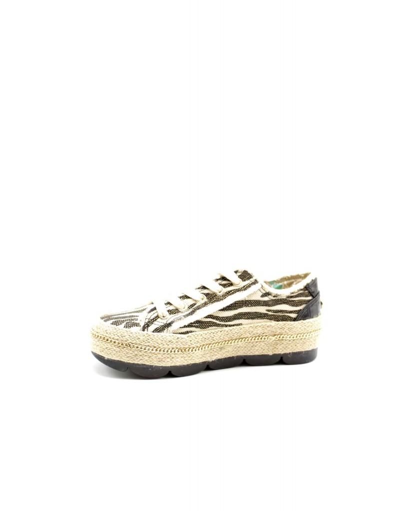 Cafe' noir Sneakers F.gomma Sneakers fascia corda in canvas sta Donna Nero Fashion