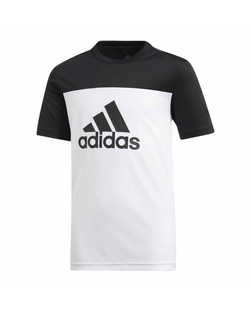 Adidas T-shirt   Yb tr eq tee        white/black Bambino Bianco Sportivo