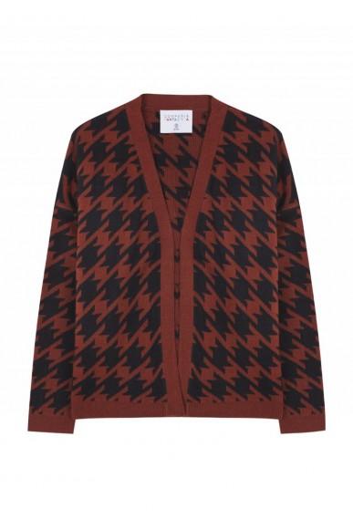 Compagnia fantastica Cardigan   Cardigan oversize marrone pied-de-poule Donna Fantasia Fashion