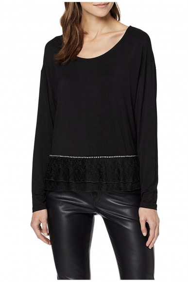 Guess Maglie   Ls nelly top Donna Nero Fashion