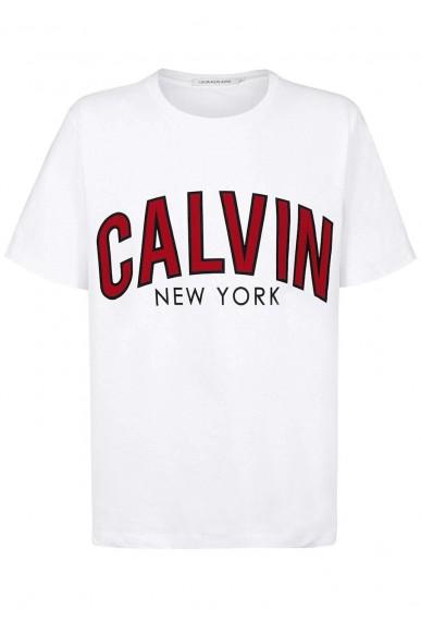 Calvin klein jeans T-shirt   Calvin curved varsity Uomo Bianco Fashion