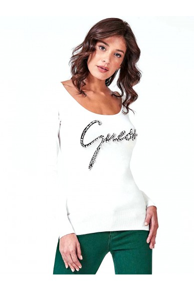 Guess Maglie   Ls rn clara sweater Donna Fashion