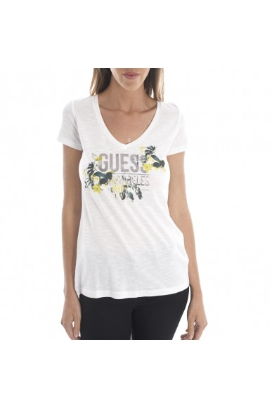 Guess Maglie   Ss vn knot tee Donna Bianco Fashion