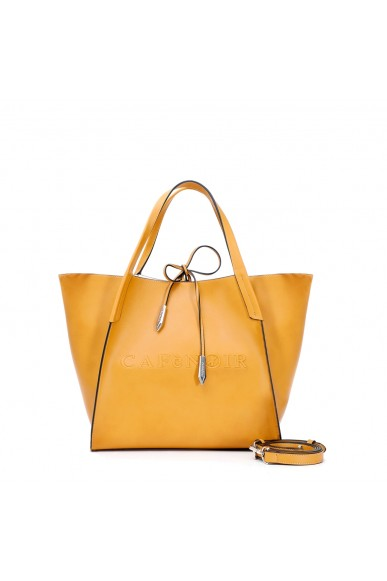 Cafe' noir Borse   Shopping logo in rilievo Donna Giallo Fashion