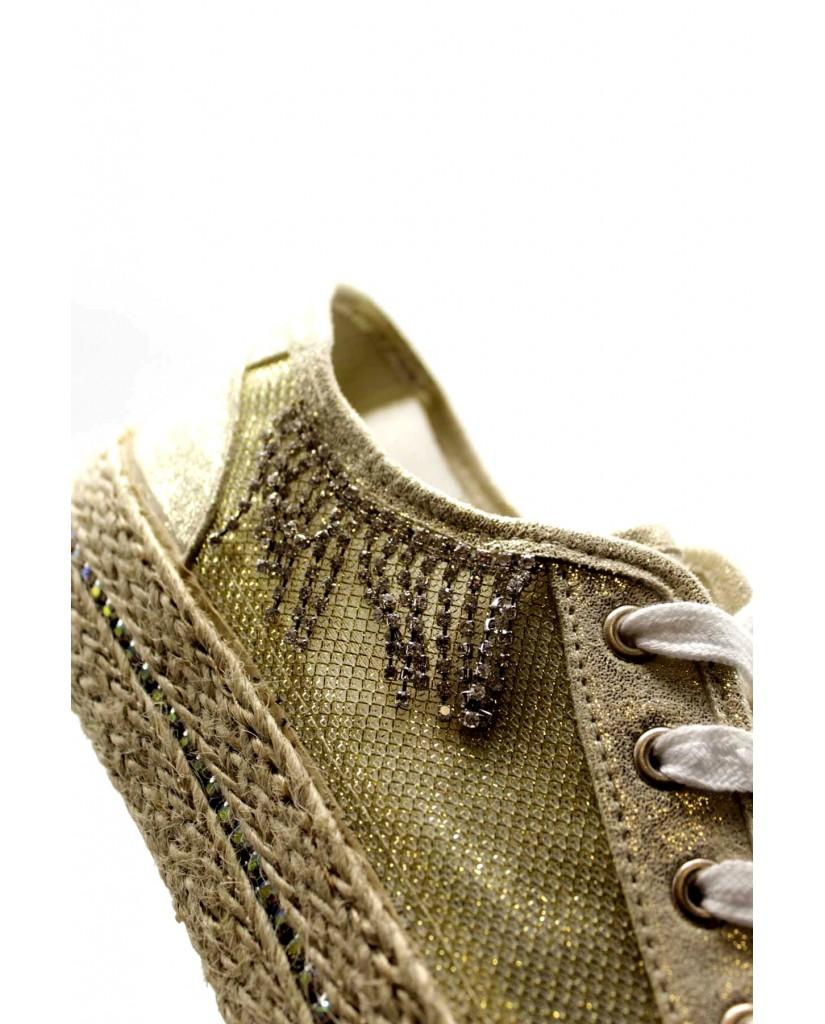 Cafe' noir Sneakers F.gomma Sneakers in rete lurex con accessor Donna Platino Fashion