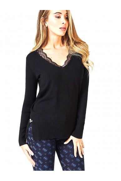 Guess Maglie   Ls rn beth sweater Donna Nero Fashion