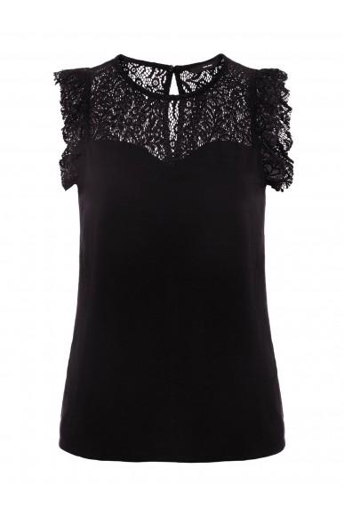 Vero moda Top   Vmalberta sweetheart lace s/l top n Donna Nero Fashion