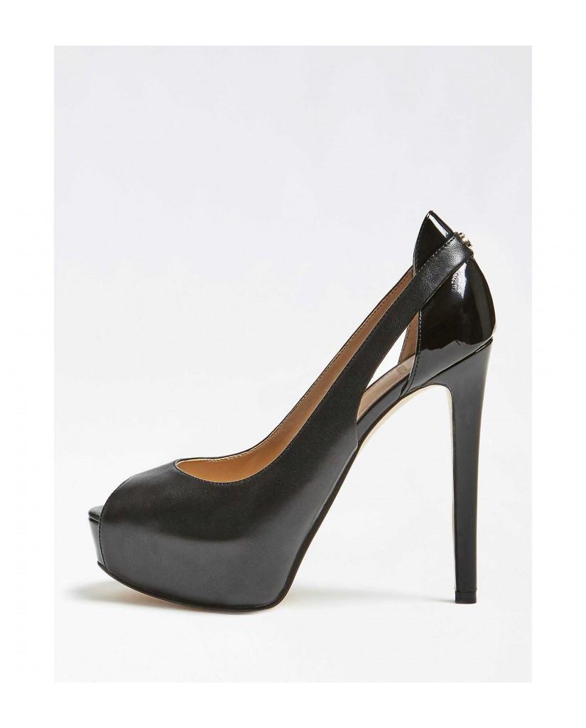 Guess Decollete   Helga spuntato (open toe) leat Donna Nero Fashion