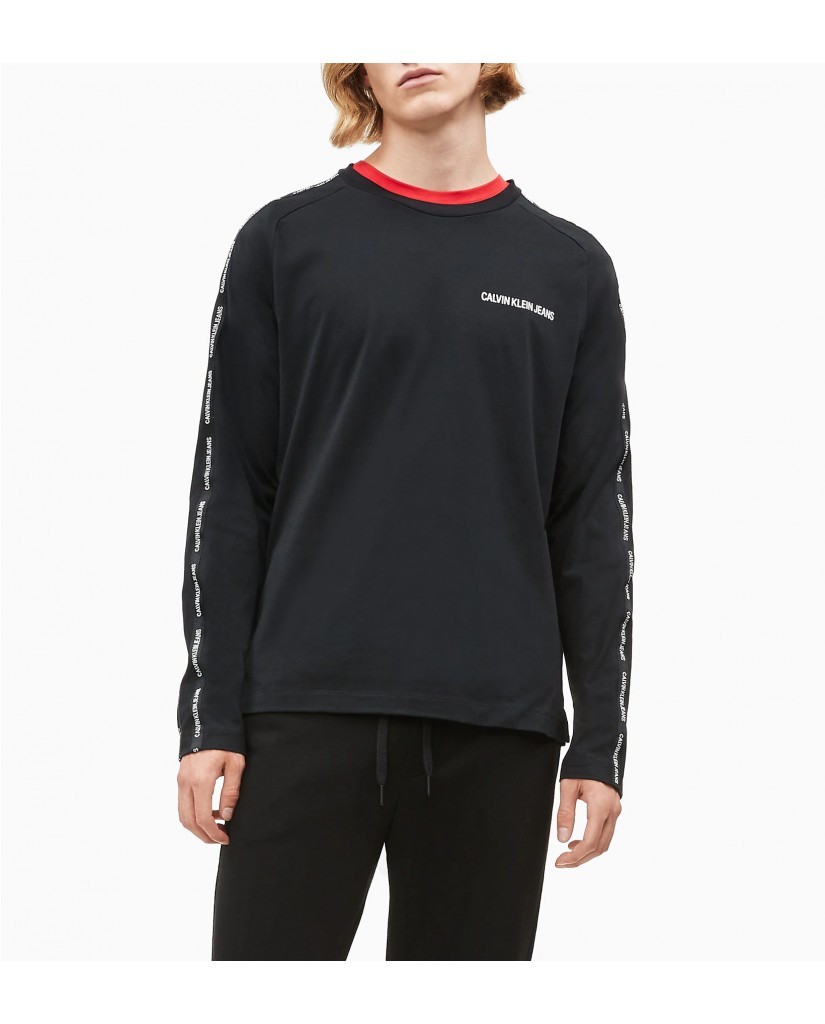 Calvin klein jeans Felpe   Instit tape slim l/s Uomo Nero Fashion