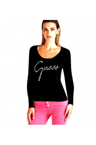 Guess Maglie   Ls rn clara sweater Donna Nero Fashion