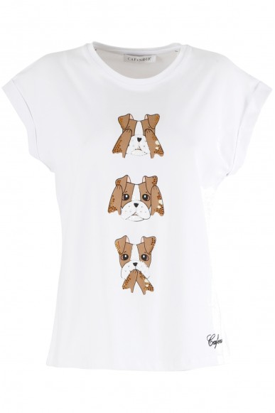 Cafe' noir T-shirt   T shirt cagnolini Donna Bianco Fashion