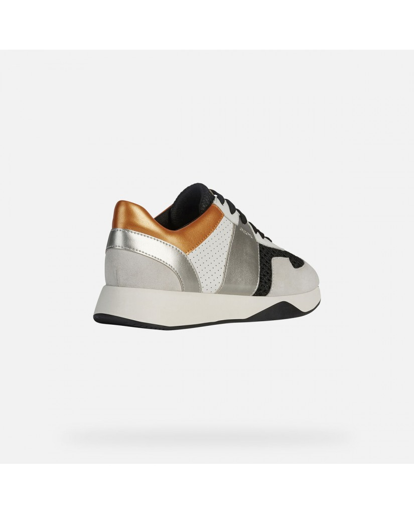 Geox Sneakers   D suzzie b - mesh+suede Donna Black/off white