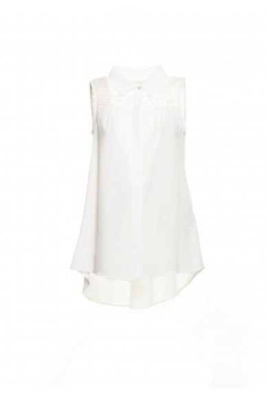 Fracomina Bluse   Sleeveless blouse cream Donna Crema Fashion
