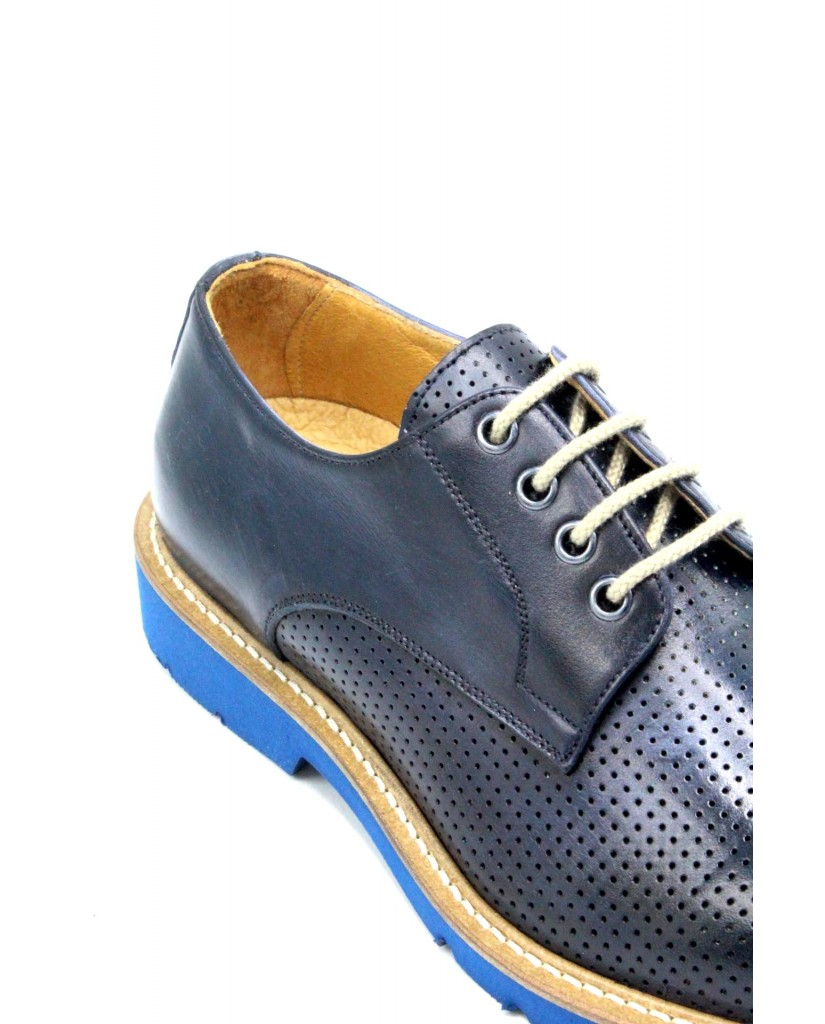 Exton Stringate F.gomma 39/46 made in italy derby 9057 Uomo Blu Fashion