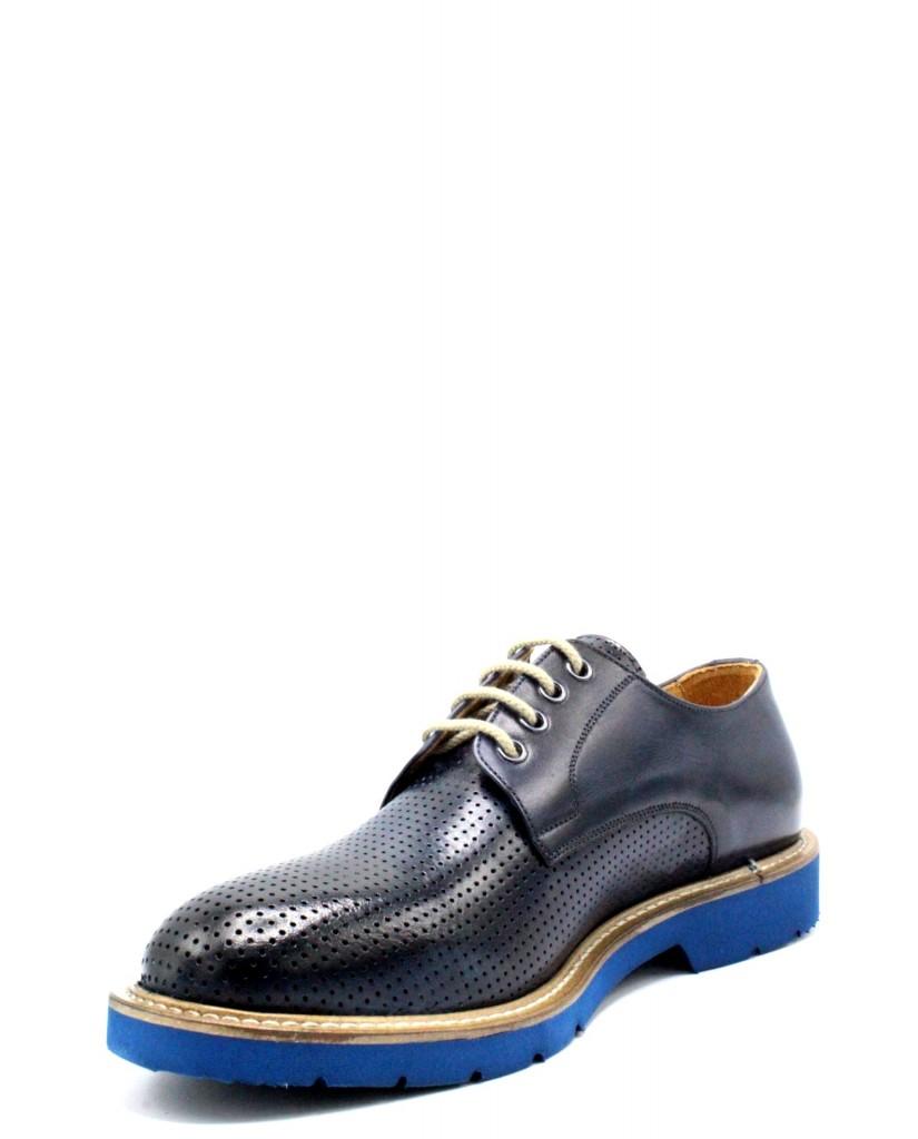 Exton Stringate F.gomma 39/46 made in italy derby 9057 Uomo Blu Fashion