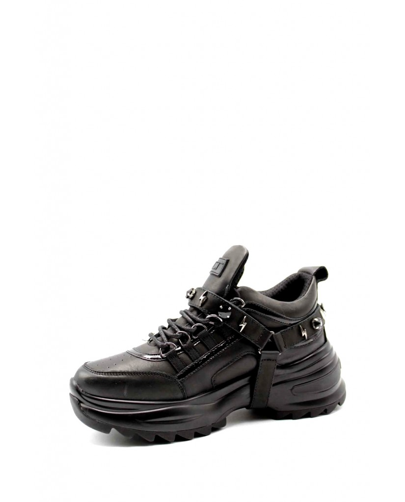 Cult Sneakers   Young 3080 low w leather/veg.patent Donna Nero Fashion
