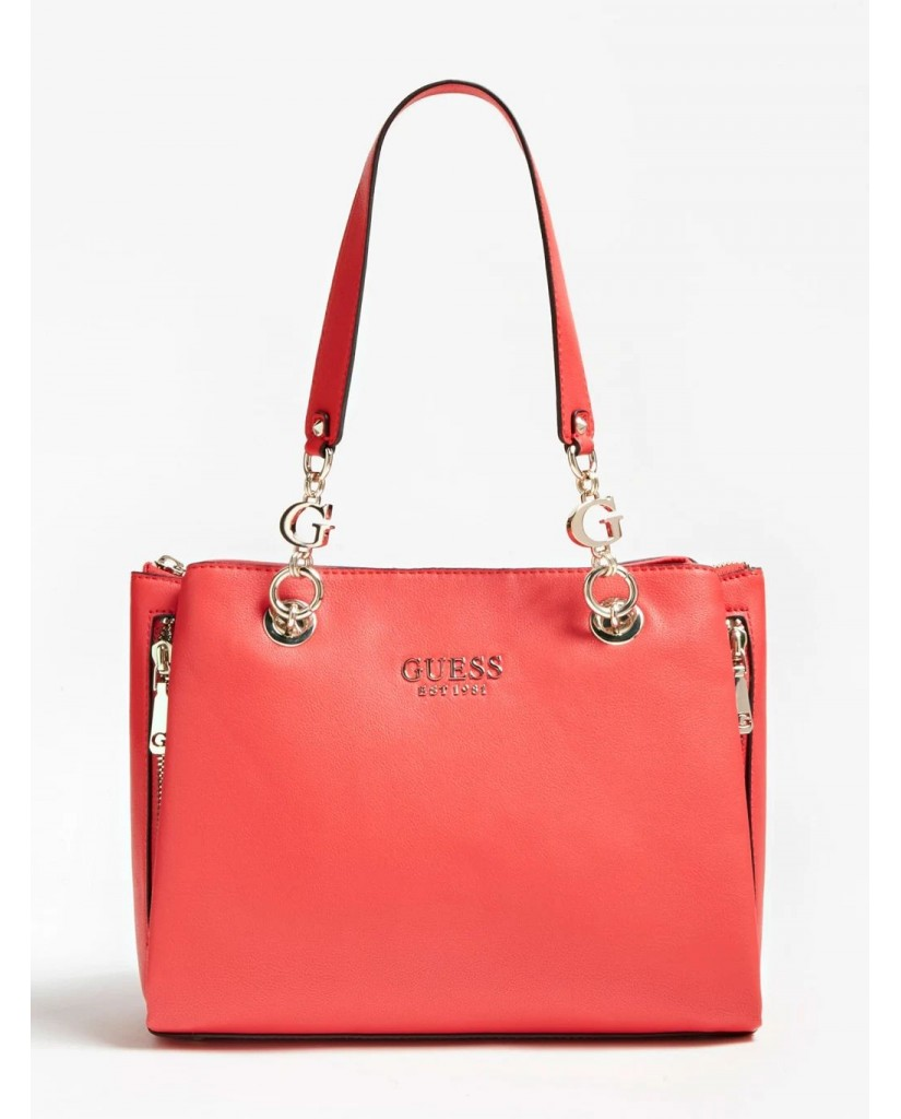 Guess Borse   G chain girlfriend satchel Donna Rosso Fashion