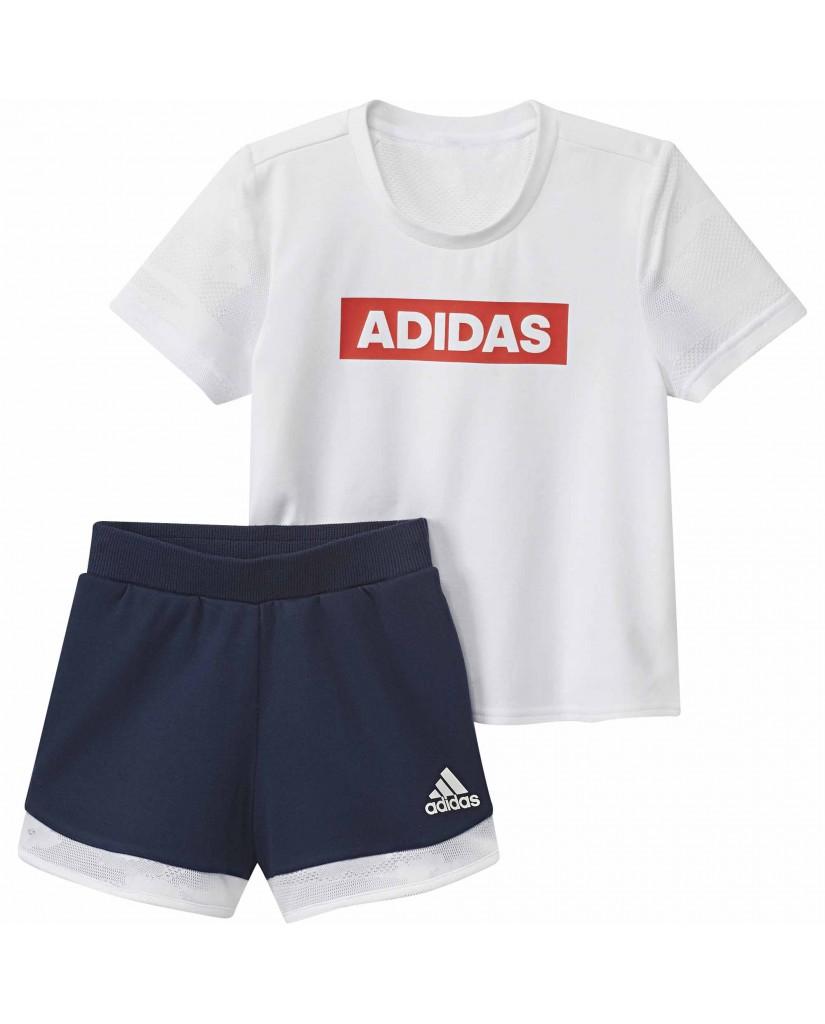 Adidas Completo   Lg ss tee set       white/conavy Bambino Bianco Sportivo
