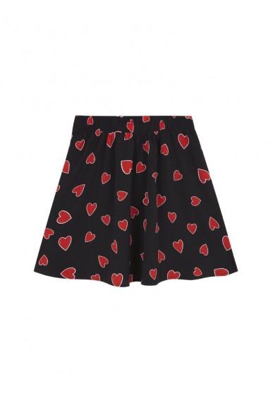 Compagnia fantastica Gonne   Estampadogonna nera cuori rossi Donna Nero Fashion