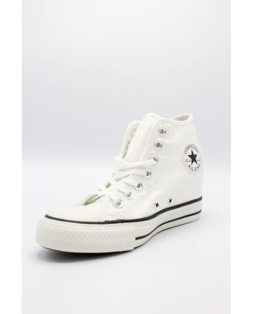Converse Sneakers F.gomma 35/41 chuck taylors lux paillettes Donna Bianco Sportivo