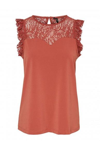 Vero moda Top   Vmalberta sweetheart lace s/l top Donna Rosso Fashion
